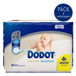 Dodot Sensitive Recém-Nascido T2 Pack Fraldas 4-8kg 4x34unid.
