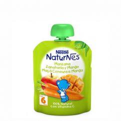 Nestlé Naturnes Pacotinho Fruta Maçã-Cenoura-Manga 6M+ 90gr