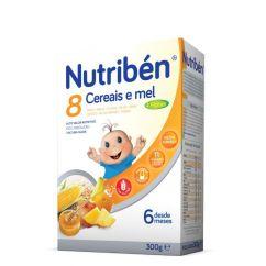 Nutribén 8 Cereais e Mel 4 Frutas Papa Não Láctea com Glúten 6M 300g