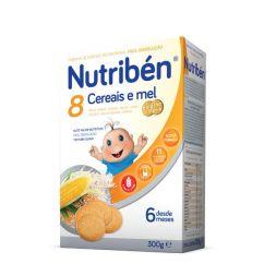 Nutribén 8 Cereais e Mel Bolacha Maria Papa Não Láctea com Glúten 6M 300g